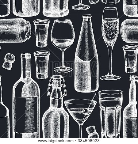 Seamless Pattern With Hand Drawn Chalk Glass, Champagne, Mug Of Beer, Alcohol Shot, Bottles Of Beer,