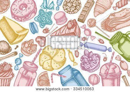 Design With Pastel Cinnamon, Macaron, Lollipop, Bar, Candies, Oranges, Buns And Bread, Croissants An