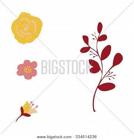 Set Of Vintage Floral Vector Bouquet Of Peonies And Garden Flowers, Botanical Natural Flowers Peonie