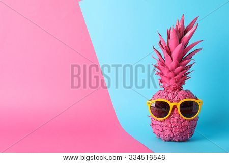 Painted Pink Pineapple With Sunglasses On Two Tone Background, Space For Text