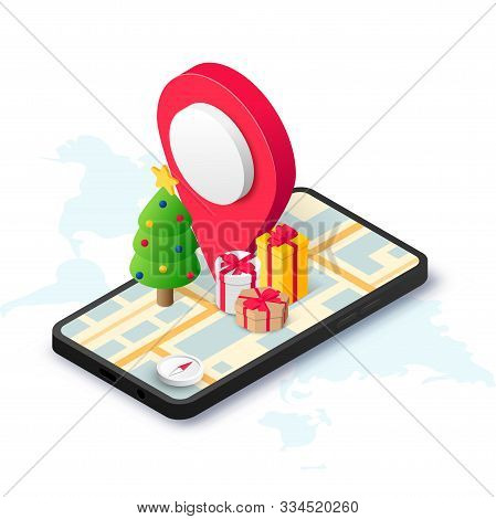 Christmas Gift Delivery Isometric Concept With Pin, Gift Box, Christmas Tree On Smartphone Screen Wi