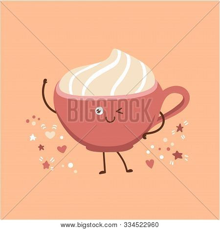 Cute Vector Illustration Of A Pink Cup With Delicious Hot Beverage With Whipped Cream. Lovely Smilin