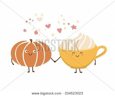 Cute Vector Illustration Pumpkin Spice Latte In Kawaii Style. Autumn Vegetable Hot Beverage With Whi