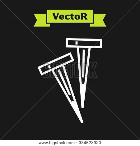 White Line Pegs For Tents Icon Isolated On Black Background. Extreme Sport. Sport Equipment. Vector
