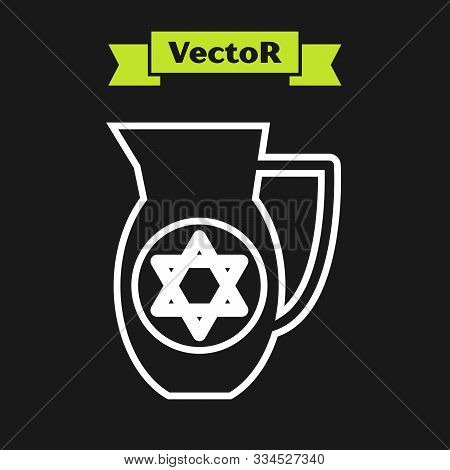 White Line Decanter With Star Of David Icon Isolated On Black Background. Pottery Jug. Organic Produ