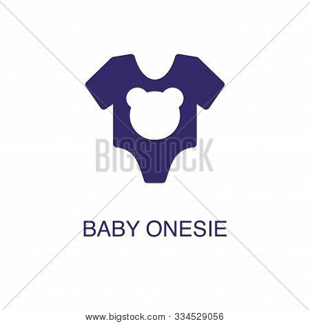 Baby Onesie Element In Flat Simple Style On White Background. Baby Onesie Icon, With Text Name Conce