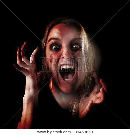 Scary Vampire Halloween Girl on Black
