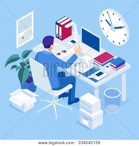 Isometric Overtime Working Concept. Planning Time Business Management. Casual Tired Office Worker Us