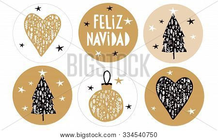 Feliz Navidad - Merry Christmas.spanish Christmas Vector Stickers With Gold And Black Floral Bauble,