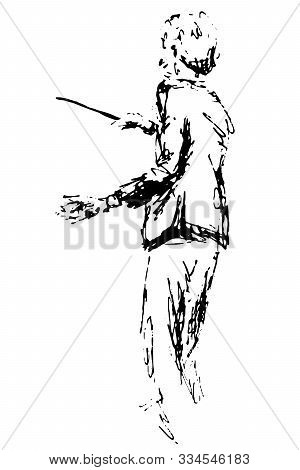 Symphony Orchestra Conductor Silhouette Linear Sketch Emotion Passion Music Movement - Black Ink Han