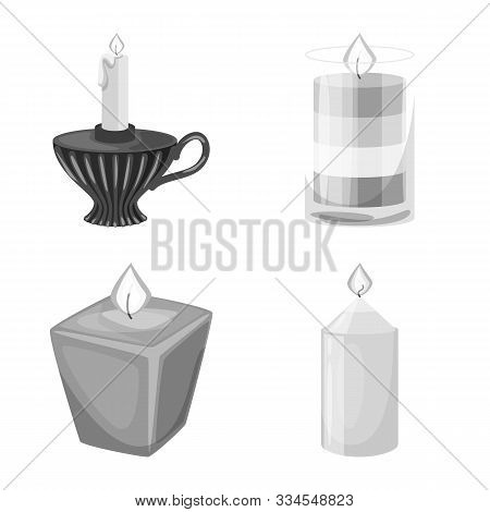 Isolated Object Of Paraffin And Fire Sign. Collection Of Paraffin And Decoration Stock Symbol For We