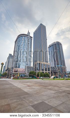 Chengdu, China - September 29, 2017: Modern Downtown With Skyscrapers. Chengdu Is Now One Of The Mos