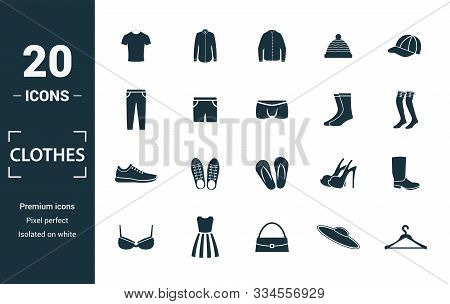 Clothes Icon Set. Include Creative Elements T-shirt, Jacket, Pants, Socks, Shoes Icons. Can Be Used