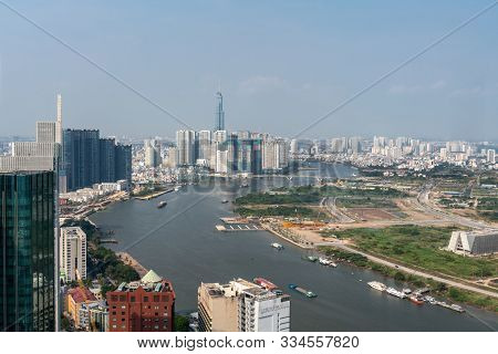 Ho Chi Minh City, Vietnam - March 12, 2019: Downtown. Looking Upstream Of Song Sai Gon River In Wide