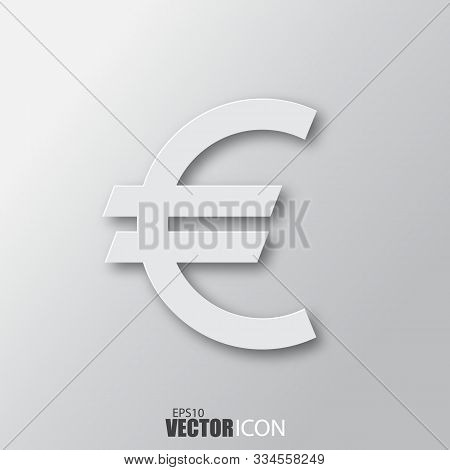 Euro Icon In White Style With Shadow Isolated On Grey Background.