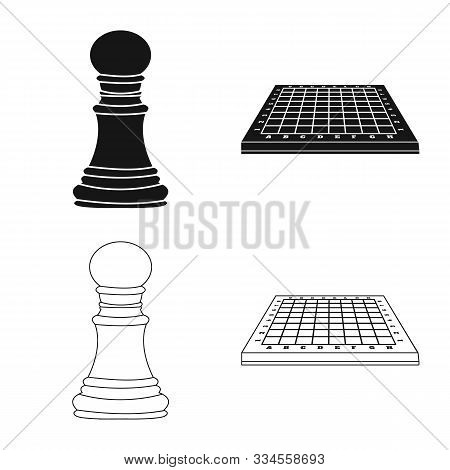 Vector Illustration Of Checkmate And Thin Symbol. Set Of Checkmate And Target Stock Symbol For Web.