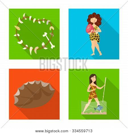 Vector Illustration Of Evolution And Prehistory Sign. Collection Of Evolution And Development Vector