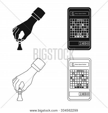 Vector Illustration Of Checkmate And Thin Symbol. Set Of Checkmate And Target Stock Vector Illustrat