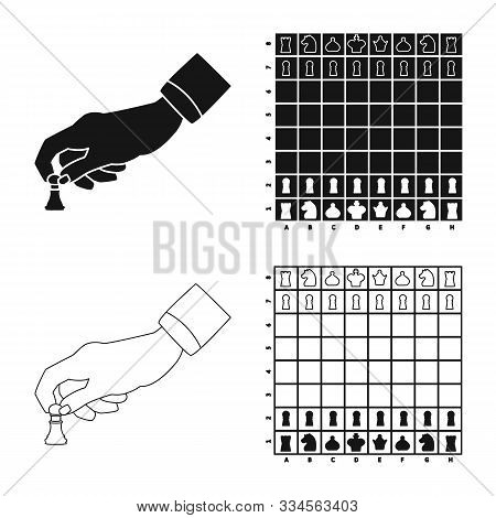 Isolated Object Of Checkmate And Thin Logo. Set Of Checkmate And Target Stock Vector Illustration.