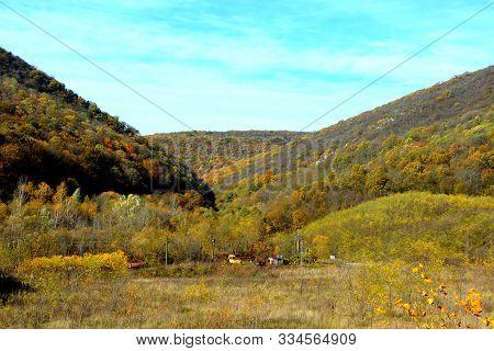 Landscape Viewed From The Old Minig Railway Anina-oravita, In Banat, Transylvania, Romania In A Sunn