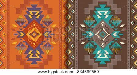 Aztec, Navajo Geometric Seamless Patterns. Native American Southwest Prints. Ethnic Design Wallpaper