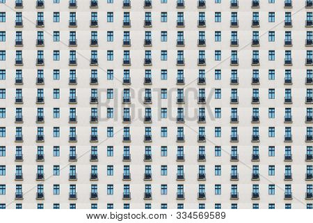 Architectural Pattern, White Modern Facade With Small Balconies