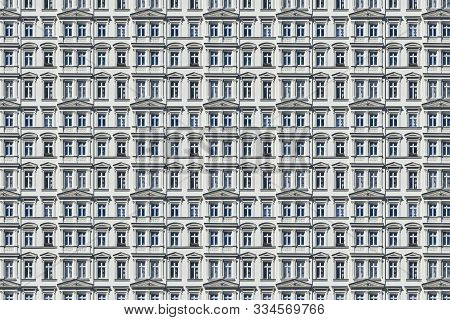 Architectural Pattern, Old White Berlin House With Stucco