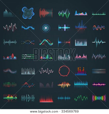 Sound Wave, Vector Different Shape Icons, Music Audio Equalizer And Frequency Patterns. Abstract Mus