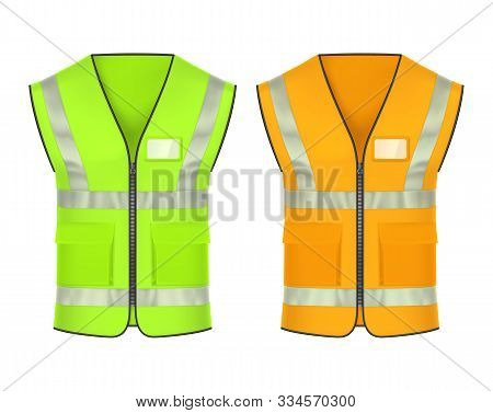 Safety Vest With Retroreflective Strips, Vector Mockup Templates. High-visibility Clothing, Reflecti