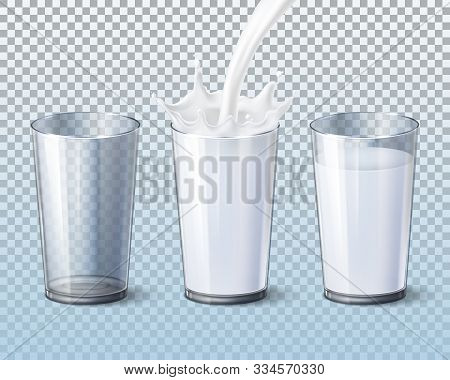 Milk Splash Pouring In Glass Cup, Vector 3d Realistic Mockup Templates. Milk Pouring Flow Into Empty