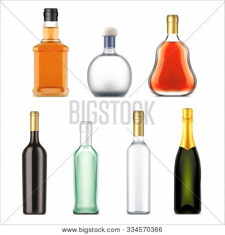 Alcohol Drinks Bottles, Vector Realistic Isolated Set. Premium Alcohol Drink Bottles Of Whiskey, Vod