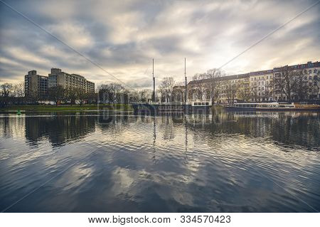 Berlin Landscape With Canal, Restaurant Boats And Hospital