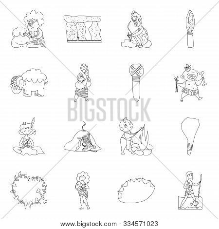Vector Design Of Primitive And Archeology Icon. Collection Of Primitive And History Stock Symbol For