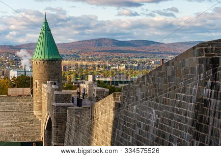 Quebec City, Canada - 4 October 2019: Porte St. Jean (st John Gate) Is Part Of The Ramparts Of Quebe
