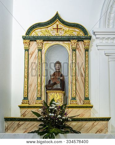 Lousa, Portugal - August 22, 2019: Side Chapel Dedicated To St John The Baptist, In The Sanctuary Of