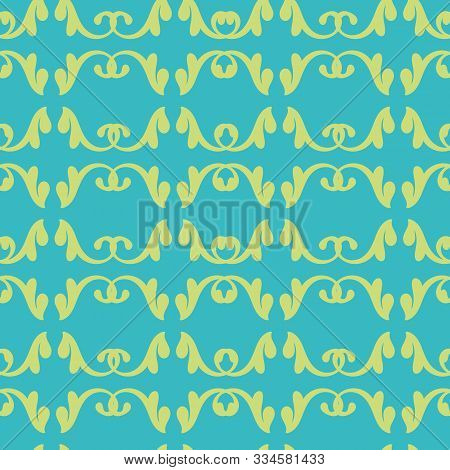 Vector Glamourous Decorative Rococo Turquoise And Yellow Decorative Elements Seamless Repeat Pattern