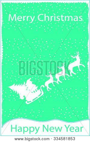 Santa Claus Postage Stamp. Christmas Mail Letter Stamps. Postage Stamp. Santa And Deer