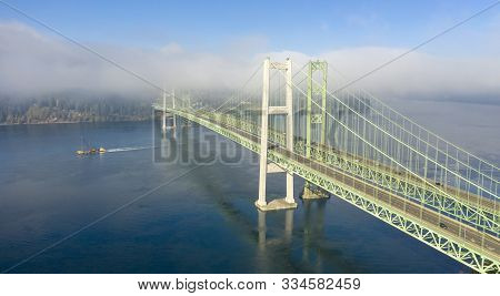 Two Bridges Are Needed To Carry Traffic Into Tacoma Out Of Gig Harbor Over The Puget Sound
