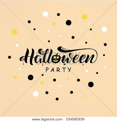 Vector illustration of Halloween party lettering for banner, flyer, poster, clothes, postcard, logo, advertisement design. Handwritten text for template, billboard, print, décor, print, holiday accessories poster