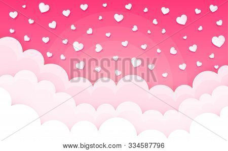 Cartoon Clouds On Hearts. Valentines Day Cumulus Fluffy Clouds. Cloudscape In Pink Sky. Love Backgro