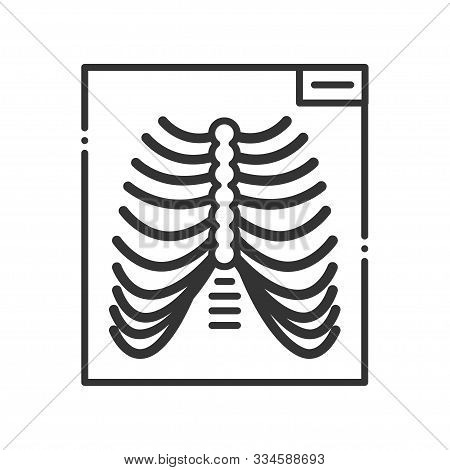 Thorax X-ray Screening Line Color Icon. Medical Examination. Sign For Web Page, Mobile App, Button,