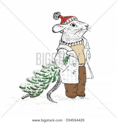 Rats In A Coat With A Christmas Tree Using Pointillism Liner Technique