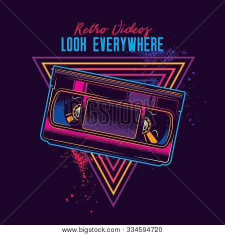 Vintage Videotape With Magnetic Tape In Neon Style. Original Vector Illustration.