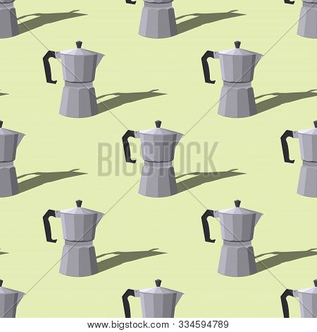 Seamless Pattern With Italian Geyser Coffee Makers On A Green Background. Vector Flat Illustration