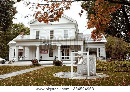 Bennington, Vermont - October 1st, 2019:  Exterior Of Bennington Town Office In The New England Town