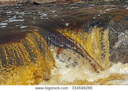 Churning Waters At A River Chute On The Bad River In Copper Falls State Park In Wisconsin