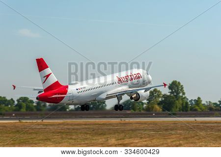 Kyiv, Ukraine - September 10, 2019: Austrian Airlines Airbus A320 Passenger Plane Takes Off At Airpo