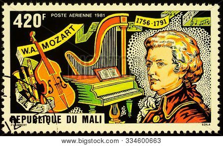 Moscow, Russia - November 17, 2019: Stamp Printed In Mali Shows Portrait Of Wolfgang Amadeus Mozart