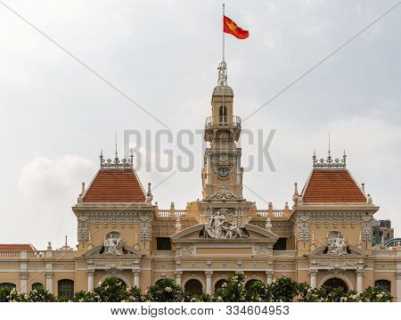 Ho Chi Minh City, Vietnam - March 12, 2019: Downtown. Upper Levels Of Town Hall Or Peoples Committee