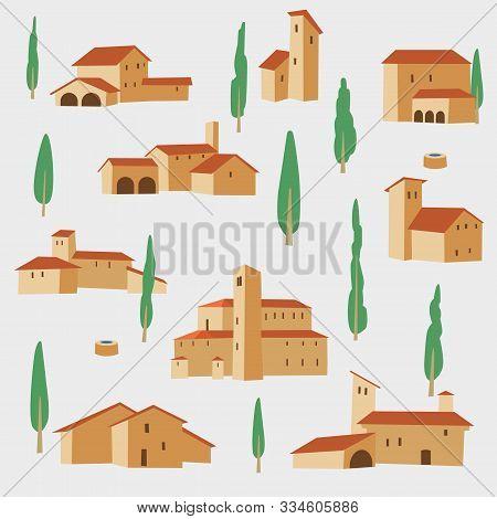 Italian Villas And Poplars. Seamless Pattern. Vector Graphics